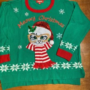Meowy Christmas ugly sweater with holiday Kitty 1X